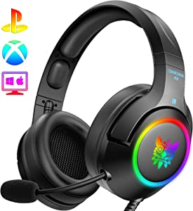 ONIKUMA PS4 Headset -Gaming Headset Xbox one Headset Gaming Headphone with Surround Sound, RGB LED Light & Noise Canceling Microphone for PS4,Gamecube,Xbox One(Adapter Not Included)