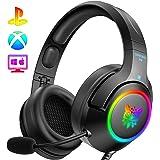 ONIKUMA PS4 Headset -Gaming Headset Xbox one Headset Gaming Headphone with Surround Sound, RGB LED Light & Noise Canceling Mi