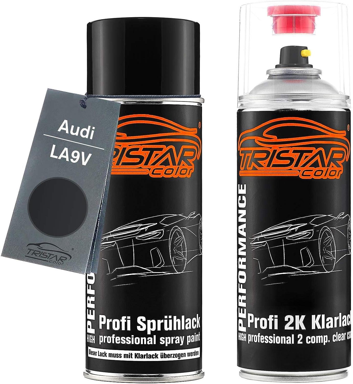 Tristarcolor Autolack 2k Spraydosen Set Für Audi La9v Brillantschwarz Metallic Basislack 2 Komponenten Klarlack Sprühdose Auto