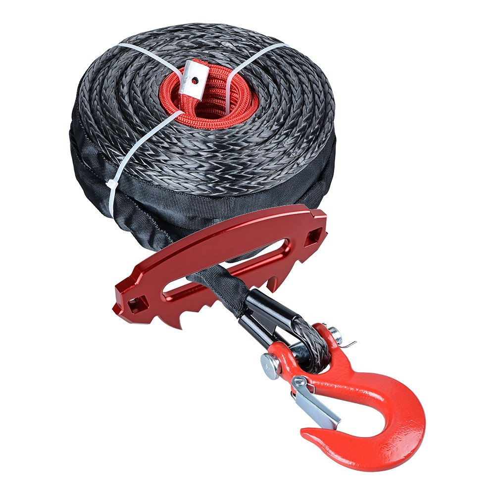 Astra Depot 92ft x 1/2 inch 22000LBs Synthetic Winch Rope Cable Heat Guard w/Red Winch Hook + Red Devil Angry Fury Alluminum 10 inch Hawse Fairlead ATV UTV Truck Boat KFI Ramsey 4x4 4DW by Astra Depot