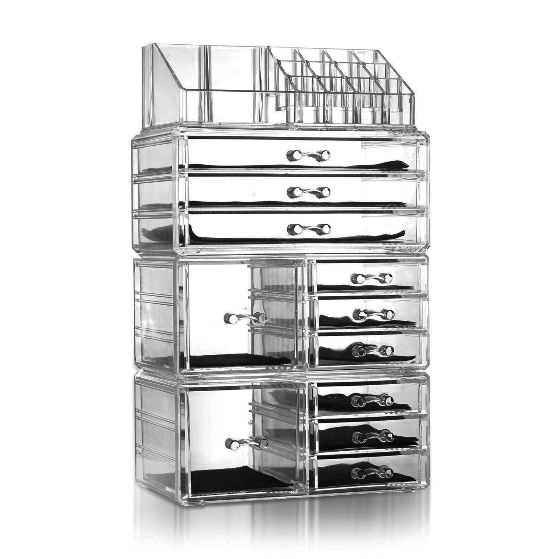 Lovinland Makeup Organizer Set 4 Pcs Plastic Cosmetic Jewelry Display Storage Rack Transparent