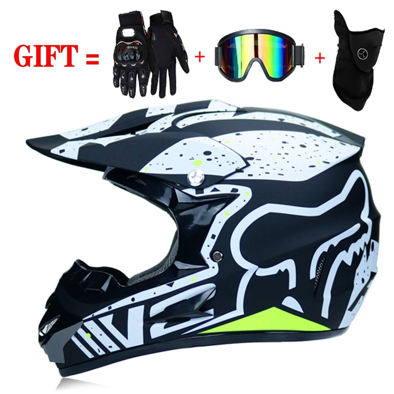 Apto para Adultos y ni/ños Medium LSLVKEN Guantes de Motocicleta Casco de Motocross para Motocross 02 Moto Quad Enduro