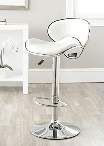 Safavieh Home Collection Shambi White Adjustable Swivel Gas Lift 24-30.1-inch Bar Stool