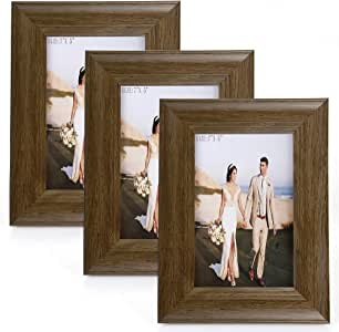 5 X 7 Picture Frames 3 Pack Rustic Style Wood Pattern High Definition Glass for Tabletop Display and Wall mounting Photo Frame