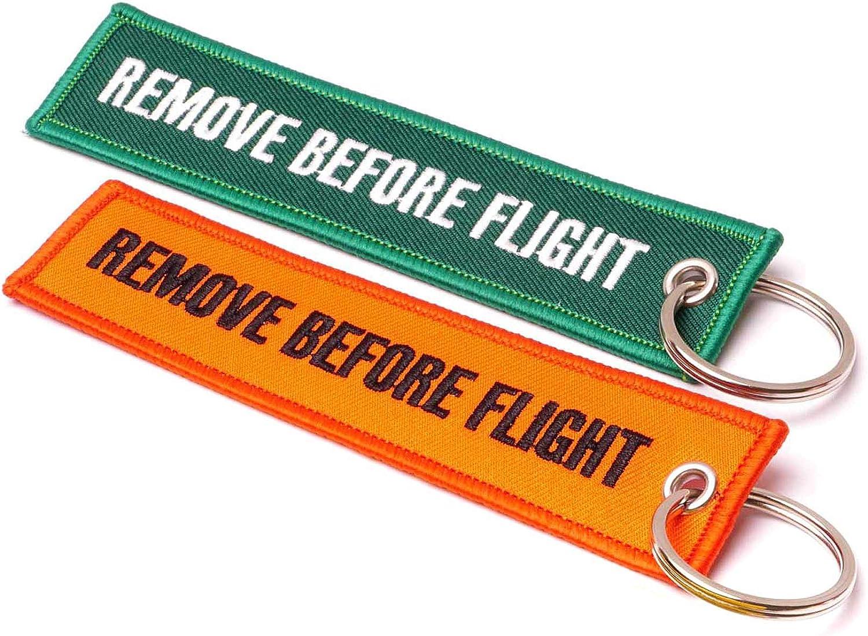 Rouge//Bleu REMOVE BEFORE FLIGHT  Lot de 2 Porte-cl/és Kit de Marque UE dorigine