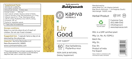Amazon com: Kapiva Herbal Liv Good 60 Veg Capsule for Healthy Liver