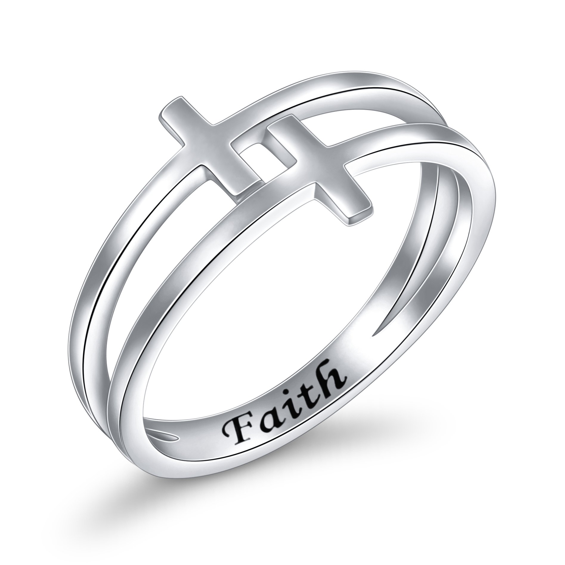 Inspirational Jewelry Sterling Silver Engraved Faith Double Cross Ring Christian Fashion Wedding Engagement Band, Size 6-8 (7)