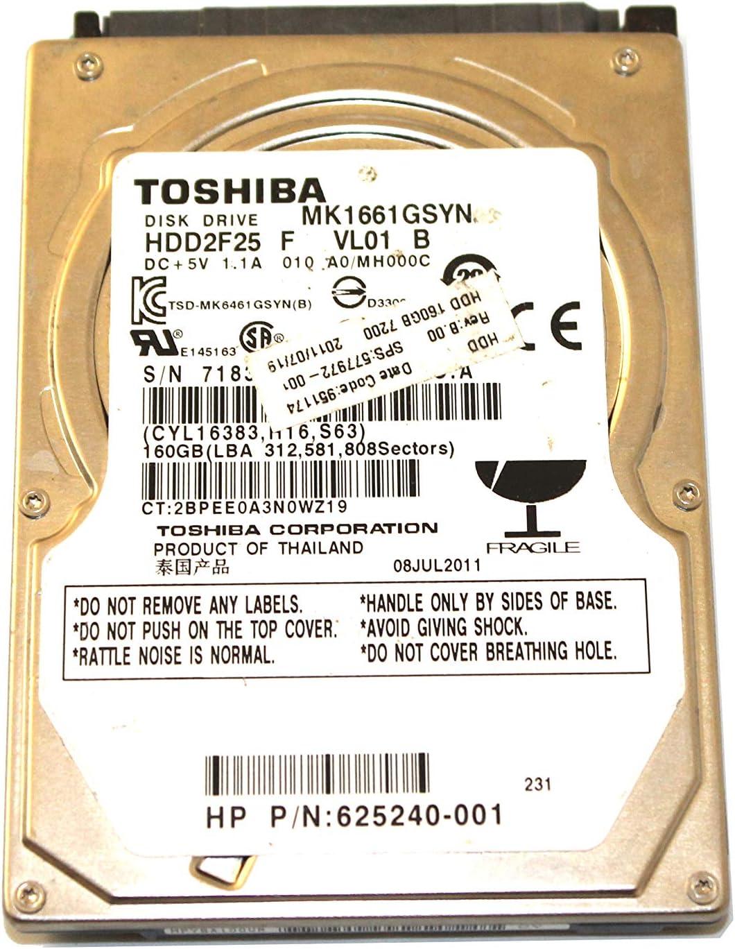 577972-001 Toshiba MK1661GSYN 160GB 7200 RPM 2.5 Laptop Hard Drive