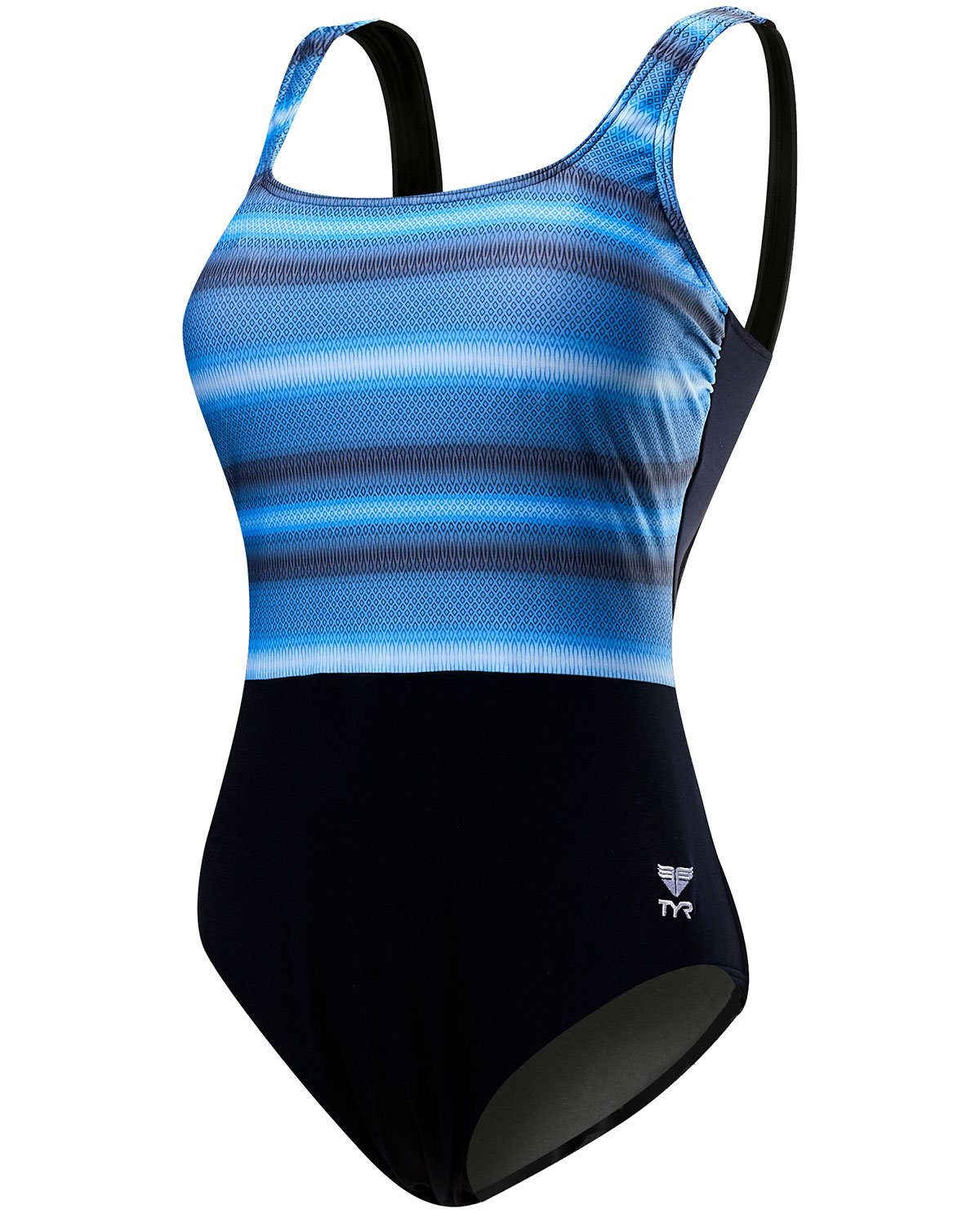 Black Grey TYR Women's Tramonto Scoop Neck Controlfit Swimming One Piece