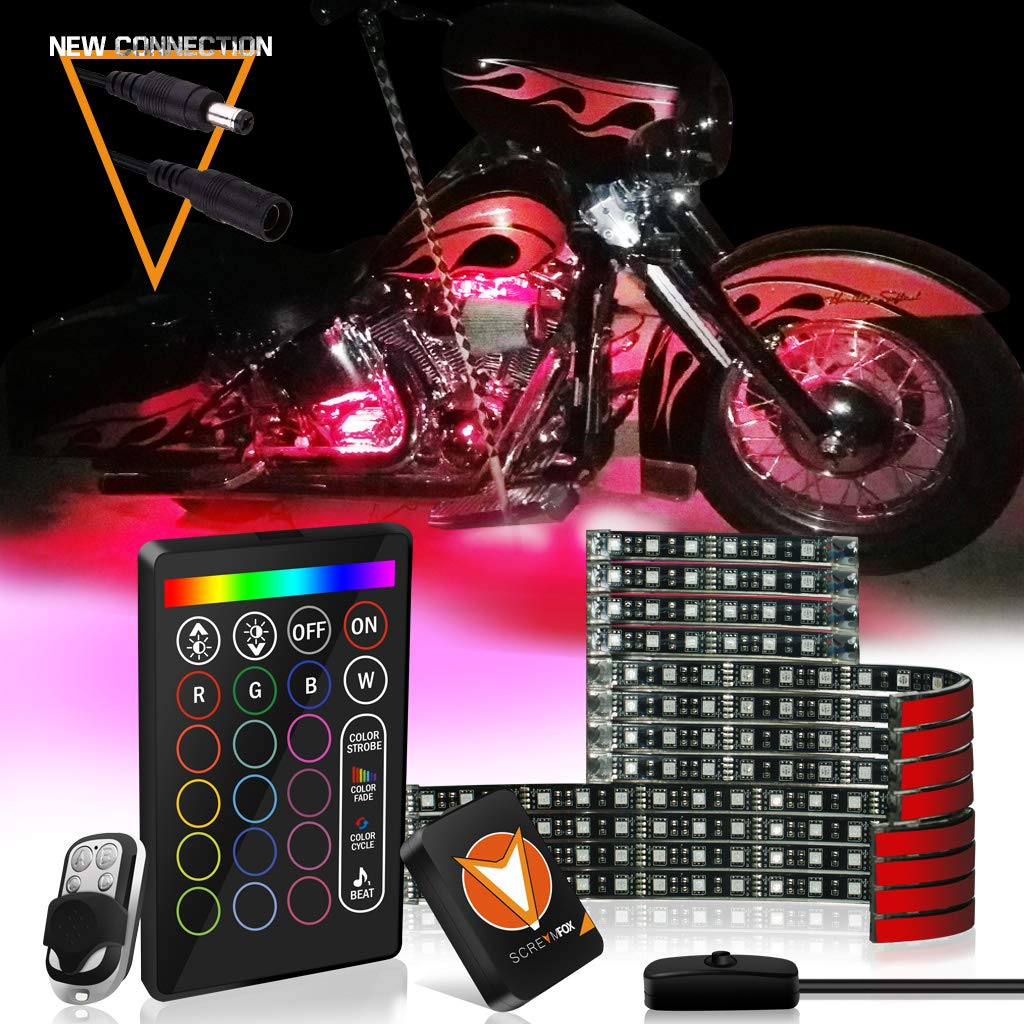 SCREAMFOX Upgrade Version 12Pcs Motorcycle LED Light Kit Strips Multi-Color Accent Glow Neon Lights Lamp Flexible with 2x Controller w/Switch for Harley Davidson Honda Kawasaki Suzuki Cruisers