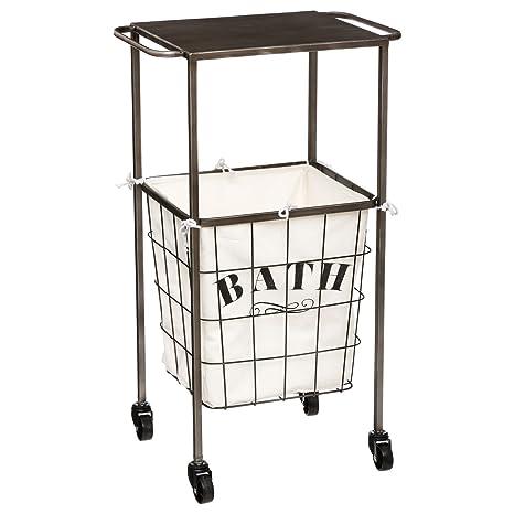 Mueble – Carro para ropa sucia con ruedas con funda extraíble – Color Blanco hueso y