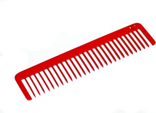 product image for Chicago Comb Model No. 5 Cardinal Red, 5.5 inches (14 cm) long, Made in USA, ultra smooth coated stainless steel, wide-tooth rake comb, unbreakable, perfect for long, curly, or thick hair, men & women