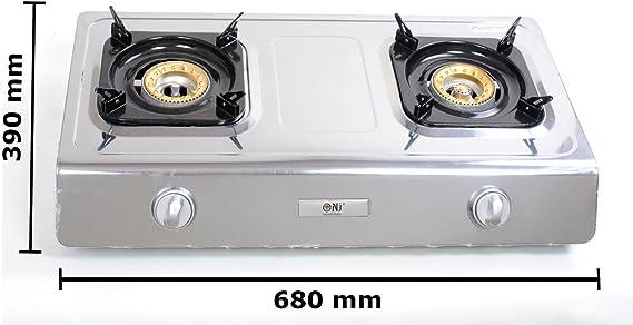 Gasschlauch-Regler-Set NGB-100 Hochwertiger Edelstahl Gaskocher 1 flammig 5,0 KW LPG Campingkocher WOK Hockerkocher inkl