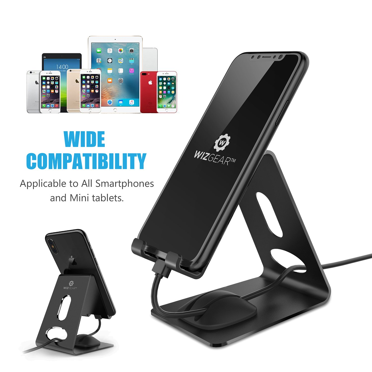 Cell Phone Stand, WizGear Premium Phone Holder For iPhones, Android Smartphones & Mini Tablets –Sturdy Metal Phone Stand For Desk With Smart Cord Holder System by WizGear (Image #5)