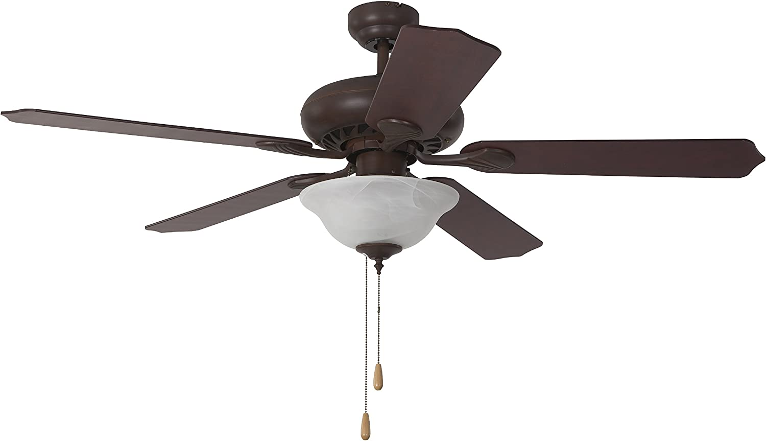 Yosemite Home Decor WHITNEY-DB-1 52-Inch Ceiling Fan in Dark Brown Finish with 3 Light and 72-Inch Lead Wire Included, Dark Brown