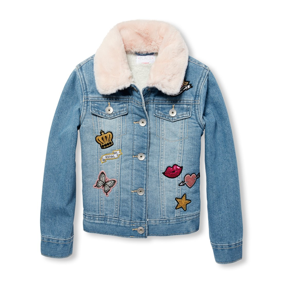 The Children's Place Big Girls' Denim Jacket, BBYBLUEDNM, XS (4) by The Children's Place