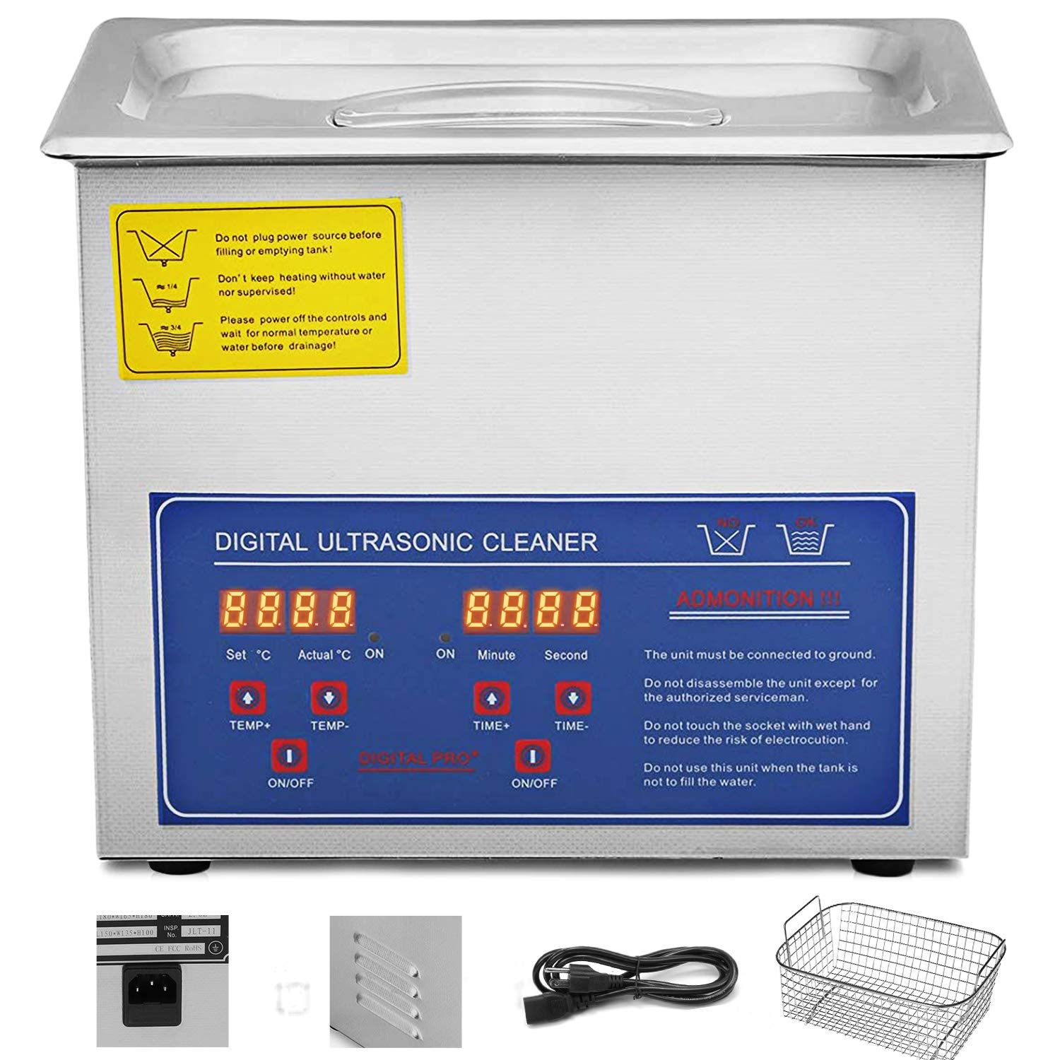 VEVOR Commercial Ultrasonic Cleaner 3L Heated Ultrasonic Cleaner with Digital Timer Jewelry Watch Glasses Cleaner Large Capacity Cleaner Solution by VEVOR