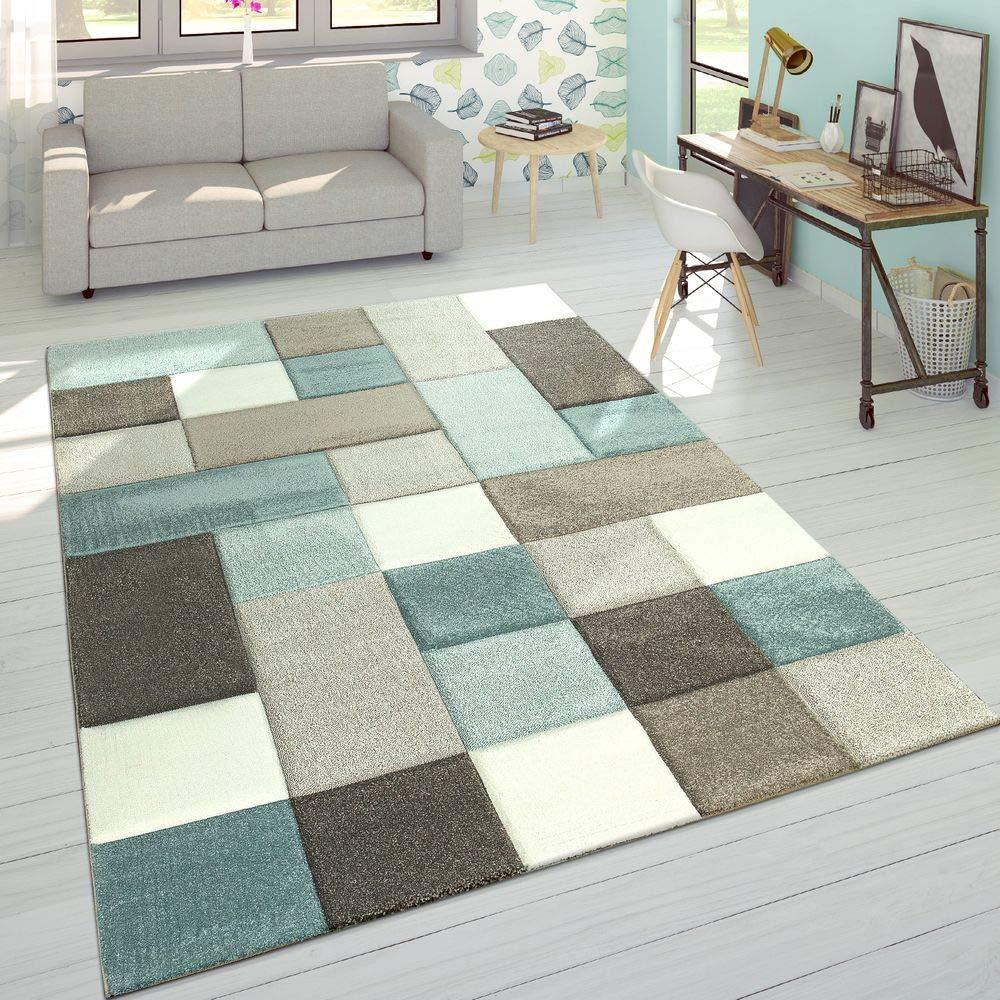 Paco Home Designer Teppich Modern Konturenschnitt Moderne Pastellfarben Kariert Beige Blau, Grösse 200x290 cm