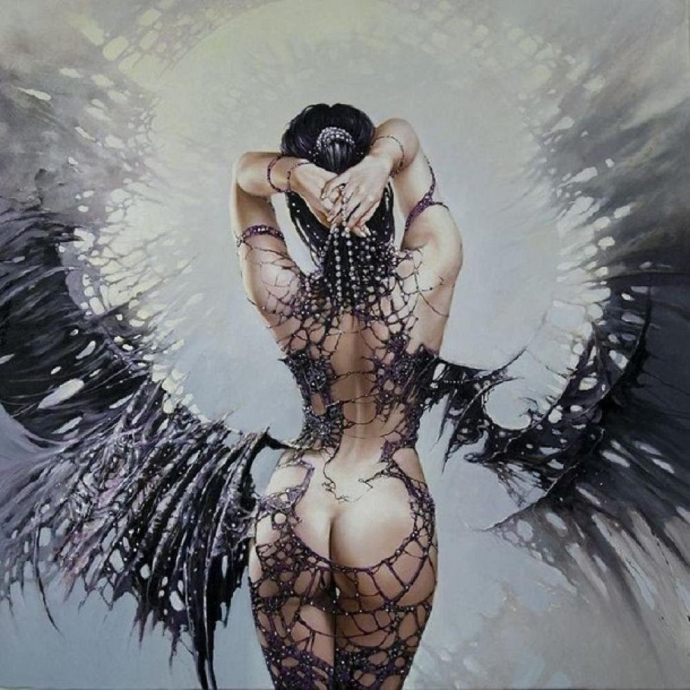 Printed Black White Sexy Beauty Angel Oil Painting On Canvas Wall Art Pictures For Home Or Salon Decorations Unique Gift