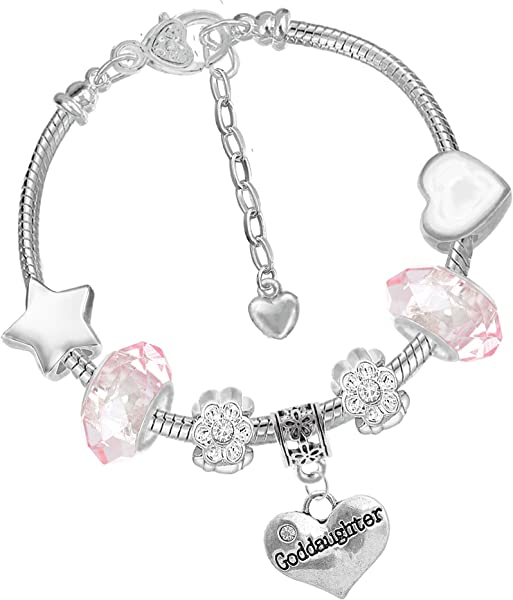 e8362c0b5 Charm Buddy Goddaughter Iced Silver Pandora Style Bracelet with Charms Gift  Box