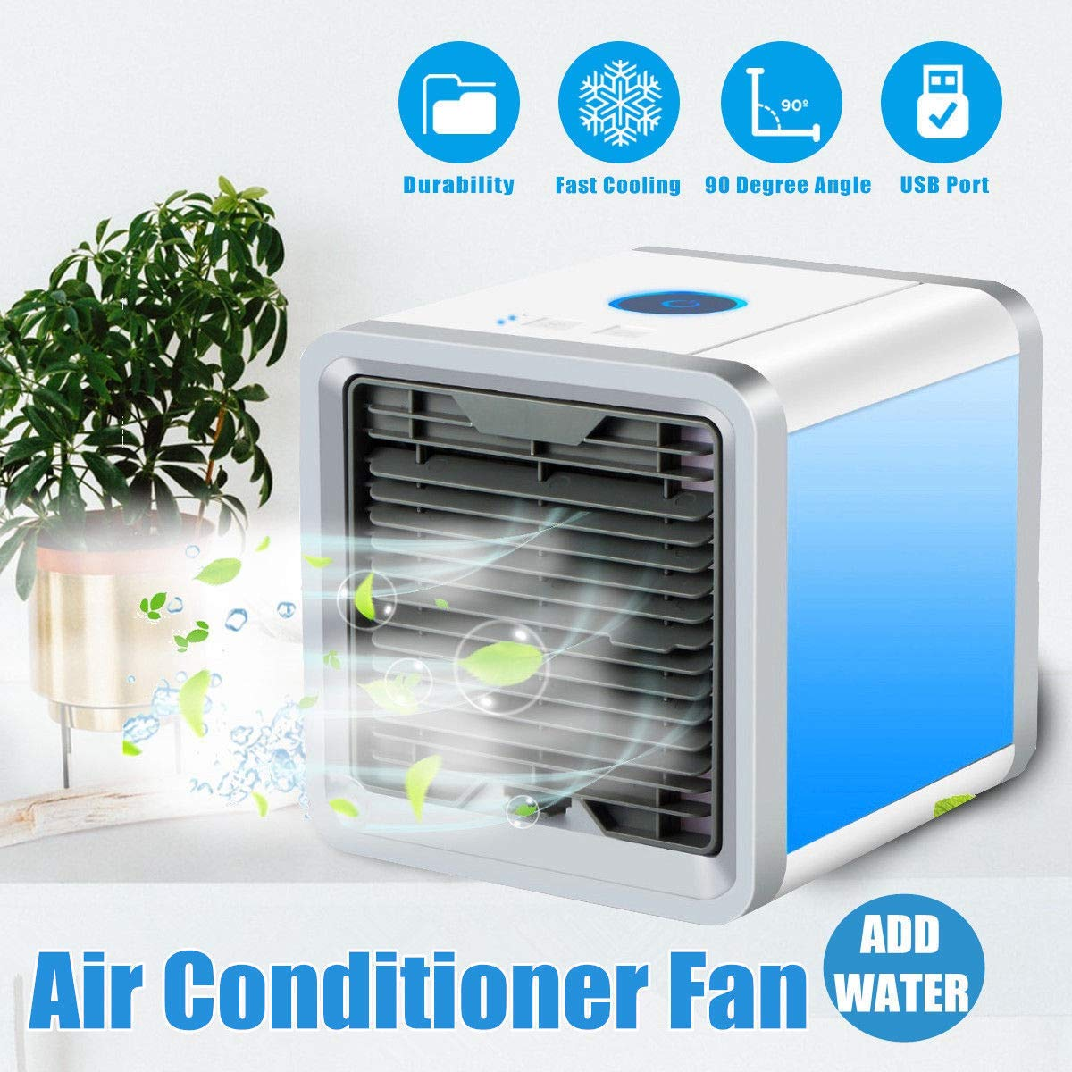 BRIZER Arctic air Chiller – Personal Air Conditioner Cooler, Humidifier, Purifier & Portable Mini Size Table Fan.