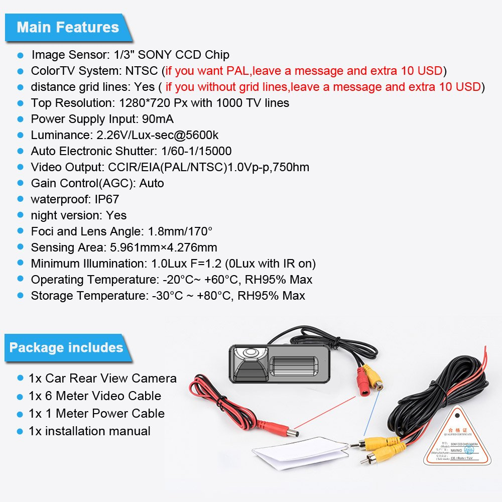 Navinio Backup Camera for Car Waterproof Rear-view License Plate Car Rear Backup Parking Camera for Mondeo//Fiesta//Focus HATCHBACK//S-Max//Kuga//Everest NVRS917-UA