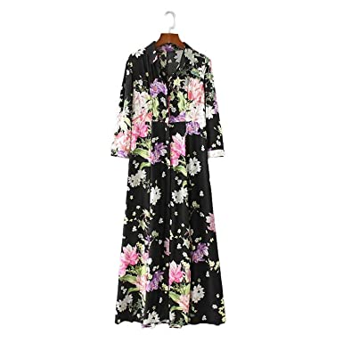GraceMi Fashion Women floral print maxi dress three quarter sleeve turn down collar vintage slim brand