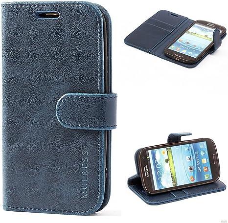 Mulbess Funda Samsung Galaxy S3 [Libro Caso Cubierta] [Vintage de Billetera Cuero de la PU] con Tapa Magnética Carcasa para Samsung Galaxy S3 / S3 Neo Case, Azul Marino: Amazon.es: Electrónica