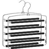 SONGMICS Pants Hangers Space Saving, 5 Layer Pants Hangers, Set of 2 Multiple Pant Hanger, Pants Organizer Hanger, Swing Arm