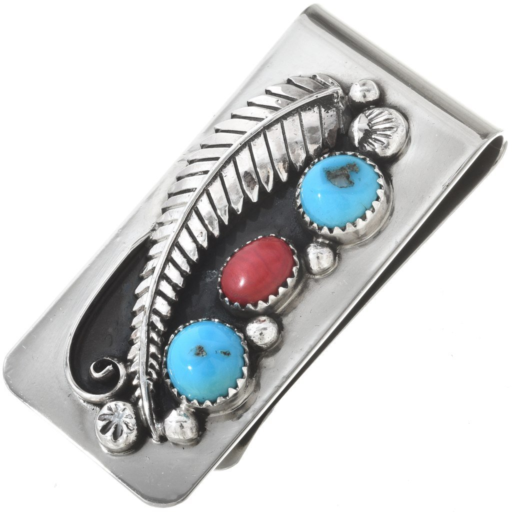 American Indian Multistone Money Clip Turquoise Coral