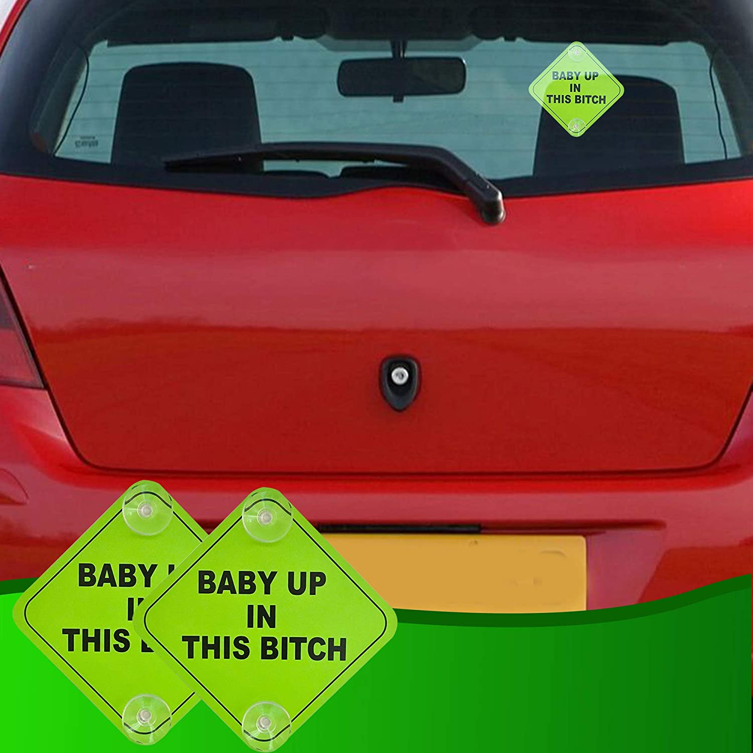 Baby Up in This B Car Window Signs 5x5 Inch Noticeable Bright Neon Green Signs with 2 Suction Cups for Extra Strong Hold LJK Safety 10PL65410-99516 Aluminum 2 Pack