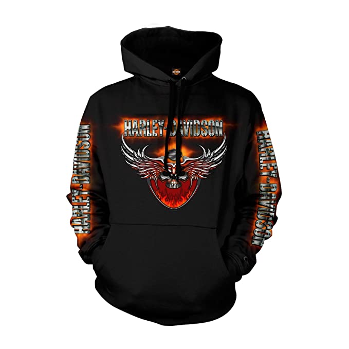 Harley-Davidson Military - Men's Pullover Hoodie - Overseas Tour | Flaming Chrome