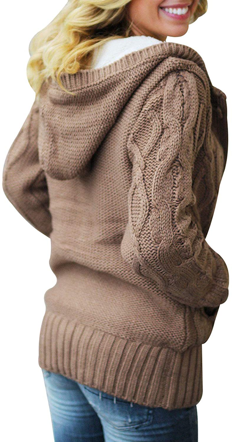 Elapsy Womens Button Down Cable Knit Cardigan Faux Fur Hooded Sweater Coats with Pockets A-khaki