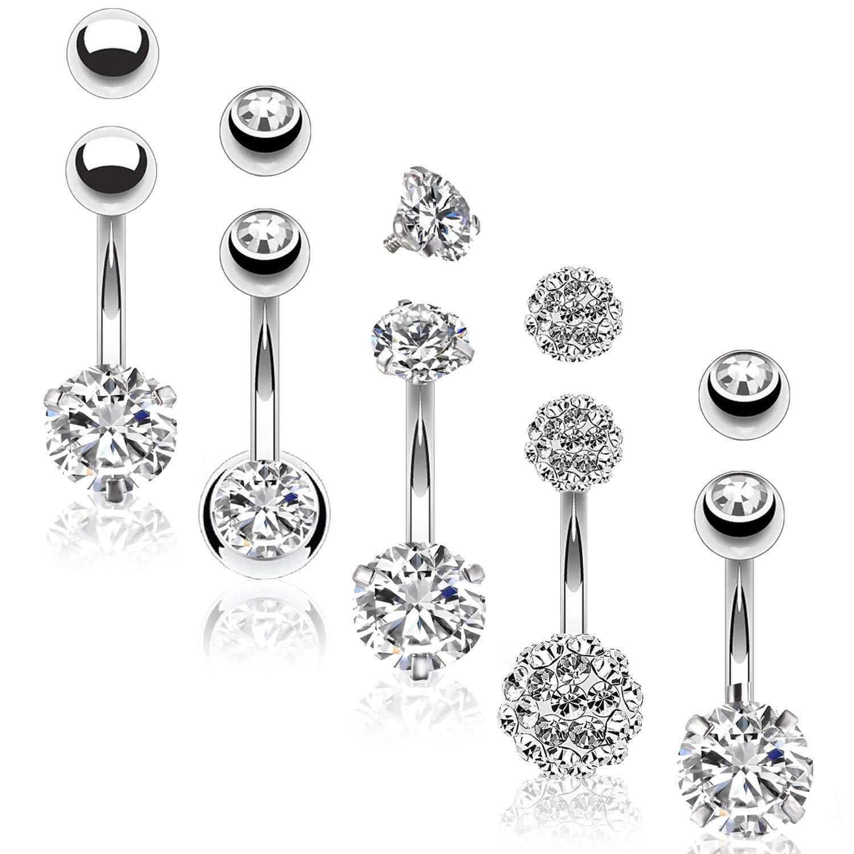 BodyJ4You 5PC Belly Button Rings 14G Stainless Steel CZ Women Navel Body Piercing Jewelry Set by BodyJ4You