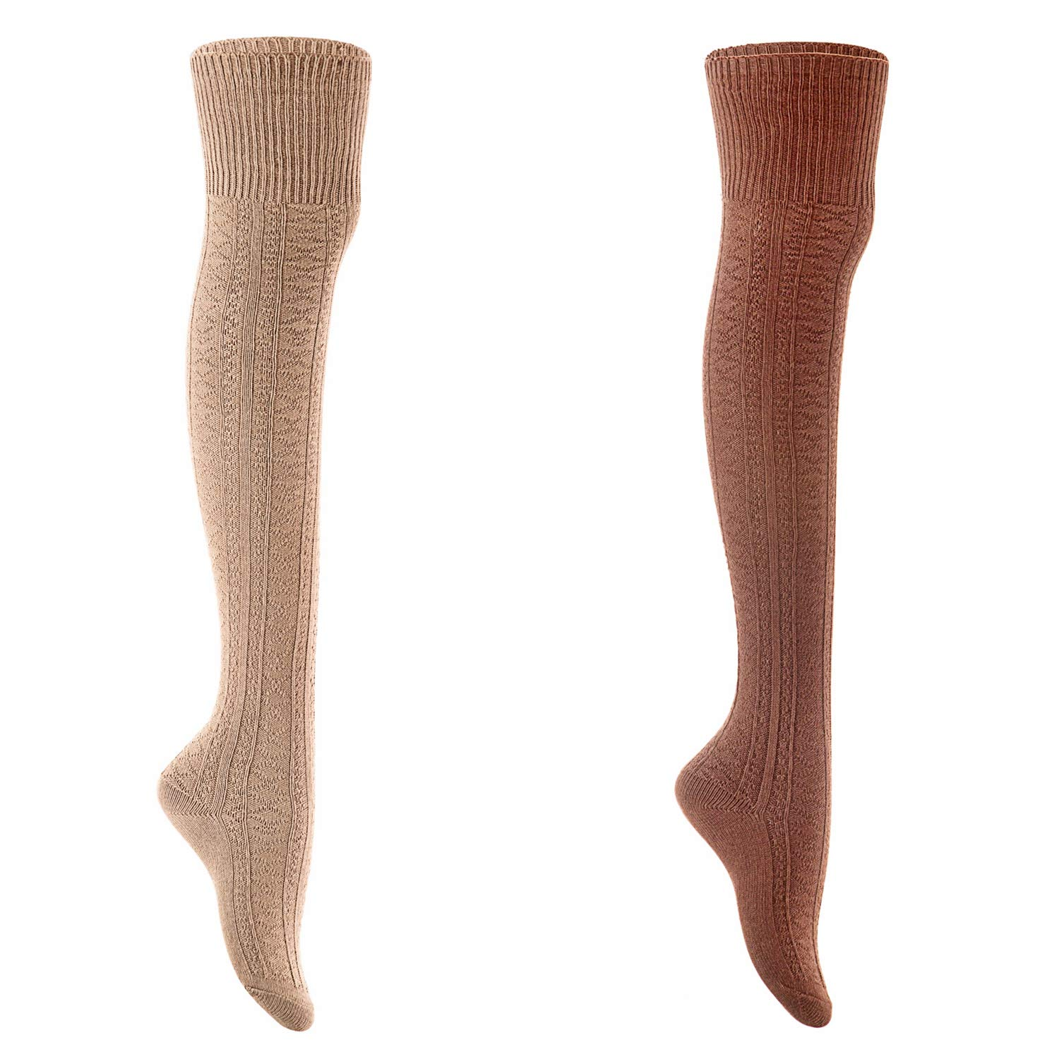 Coffee+beige AATMart Women's 2 Pairs Fashion KneeHigh Cotton Socks M1025 Size 59