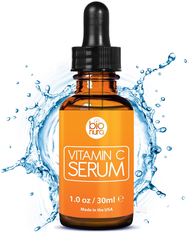 Das beste Vitamin C Serum für Ihr Gesicht mit 20% Vitamin C + Hyaluronsäure + Vitamin E + Jojobaöl. Natürliche AntiAging + Anti Falten + Bio Kollagen Booster Gesichtsserum mit organischen Inhaltsstoffen. Ideal für den Einsatz mit einer Derma Roller. bionur