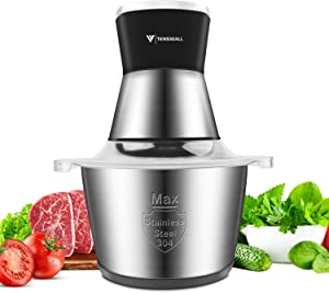 Food Processor, Tenswall Food Chopper 2L Stainless Steel Kitchen Electric Meat Grinder for Meat, Vegetables, Fruits and Nuts, 2 Speed and 4 Bi-Level Blades