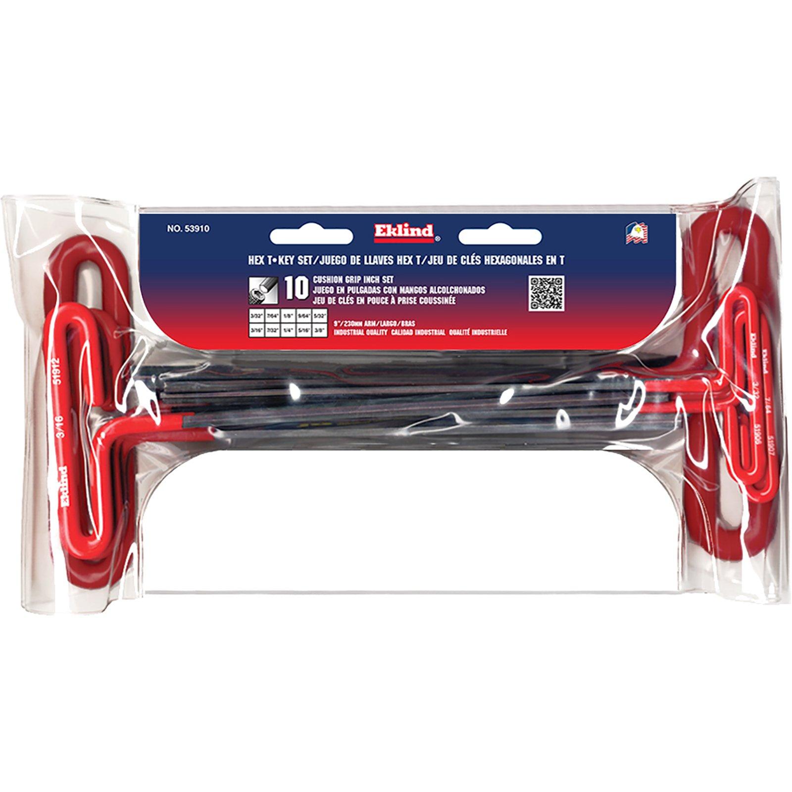 EKLIND 53910 Cushion Grip Hex T-Key allen wrench - 10pc set SAE Inch Sizes 3/32-3/8 9in series by Eklind Tool