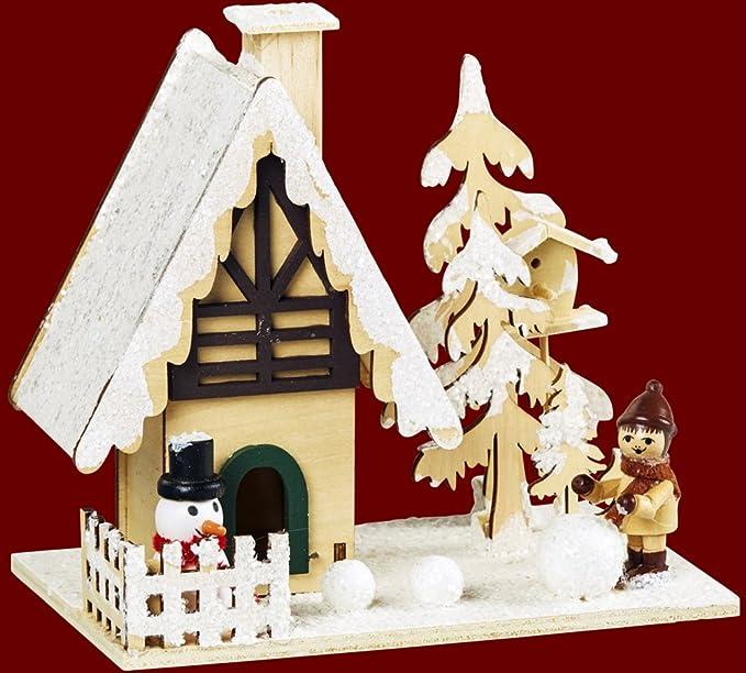 """Encens Encens Maison Maisonnette """"Hiver Enfant & Bonhomme de Neige en bois 15x 10x 15cm Noël et de l'avent (93381)"""