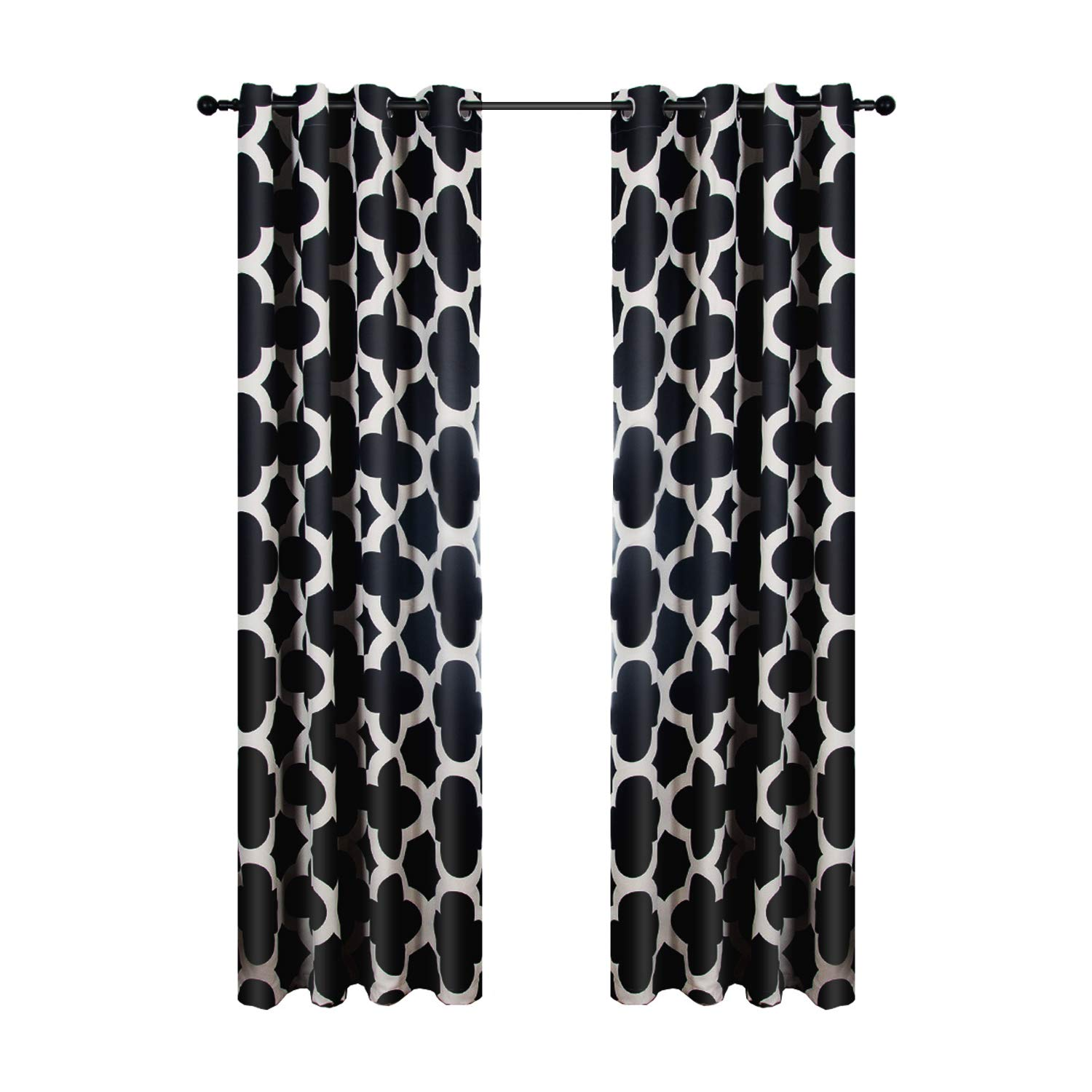 Top Finel Quatrefoil Thermal Insulated Grommets Blackout Curtains for Bedroom, 54 X 63 inch Length ,2 Panels,Black CL094Black5463-2