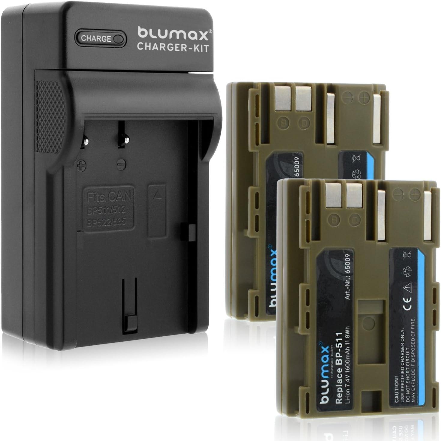 BP-511A 2040mAh Ladeger/ät BP-511 Blumax Gold Edition BP-511 passend zu Canon EOS 5D// 10D// 20D// 300D// 30D// 40D// 50D UVM BP-511A