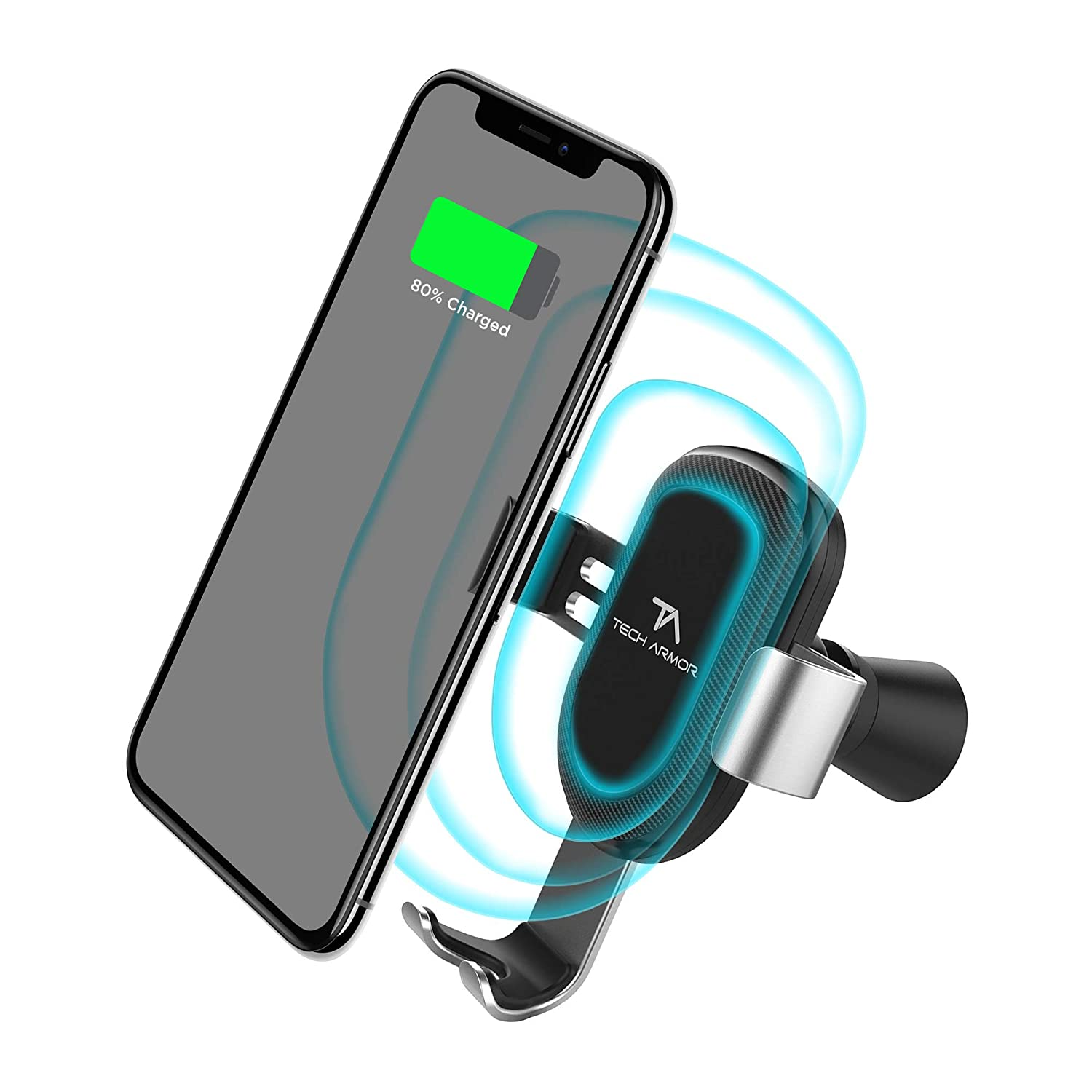 Tech Armor Wireless Car Charger Fast Qi Charging Compatible for iPhone X//Xs//XS Max // 8//8 Plus//Samsung Galaxy S9 // S8 // Note 8//9 and More Black Air Vent Car Mount