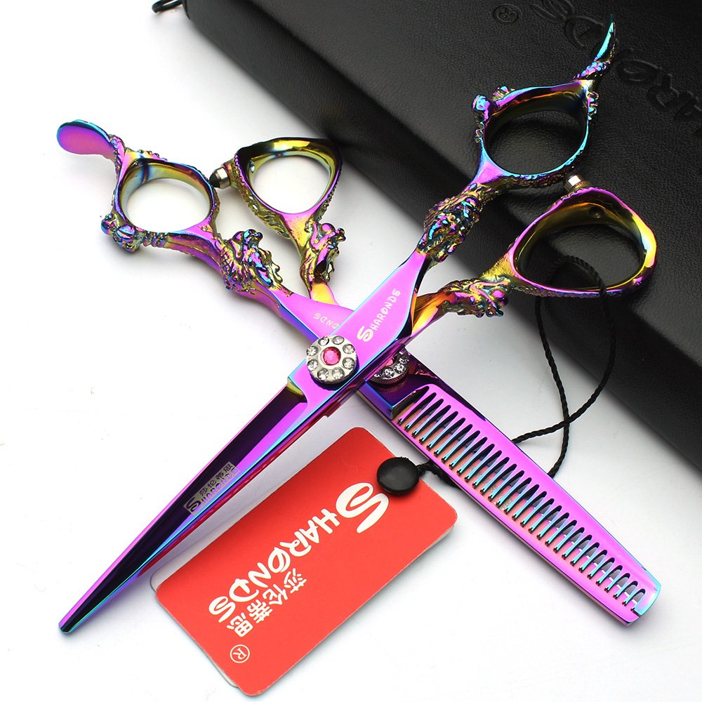 Japan 5.5 inch hair profession stylist scissors hair salon studio professional modeling tools cutting scissorsChinese dragon design + thinning scissors (2pcs) Axemoore