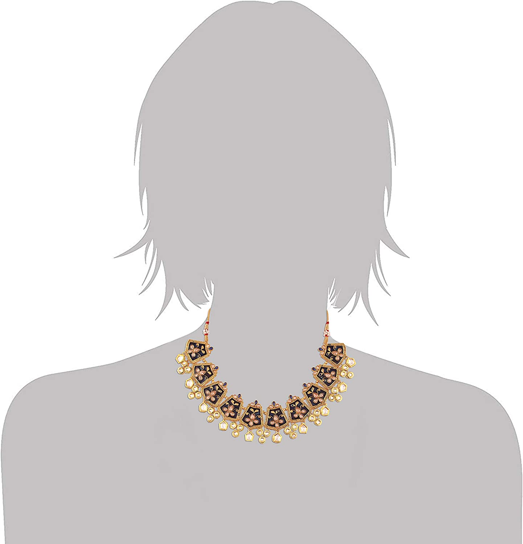 ML134Bl I Jewels Exklusive Gold Plated Kundan /& Meenakari Bridal Necklace Set with Earrings /& Maang Tikka for Women