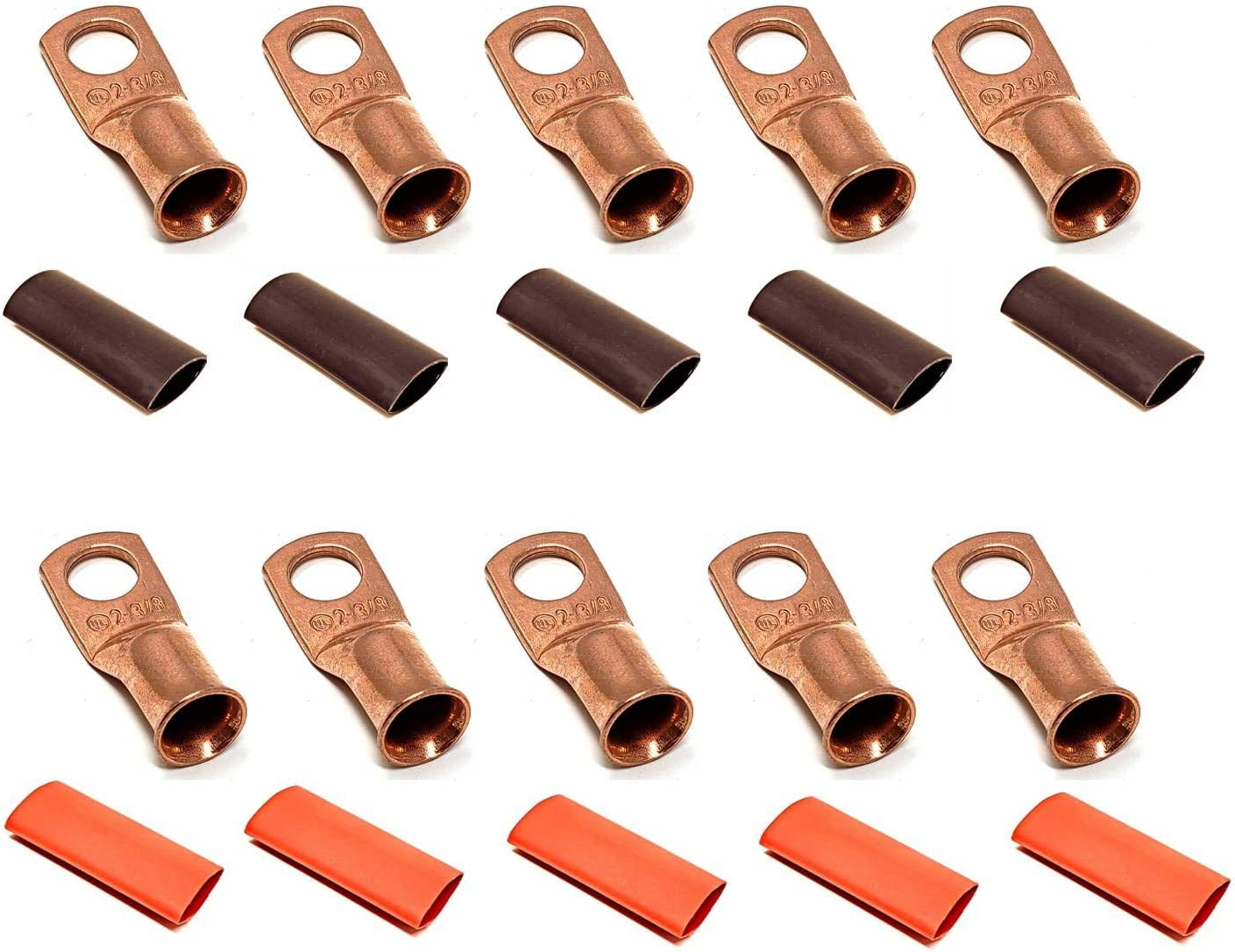 QTY100 4GA SHRINK TUBE TINNED COPPER INVERTER BATTERY CABLE RING TERMINAL 2AWG