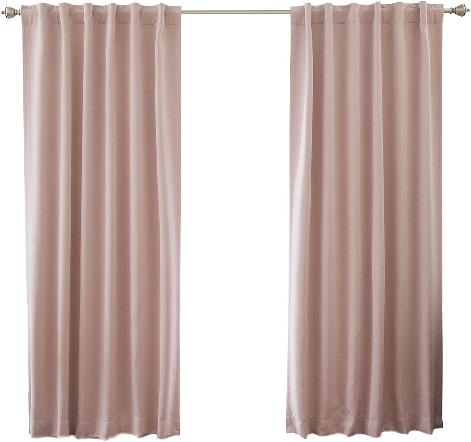 "Best Home Fashion Thermal Insulated Blackout Curtains - Back Tab/Rod Pocket - 52"" W x 84"" L - Dusty Pink (Set of 2 Panels)"