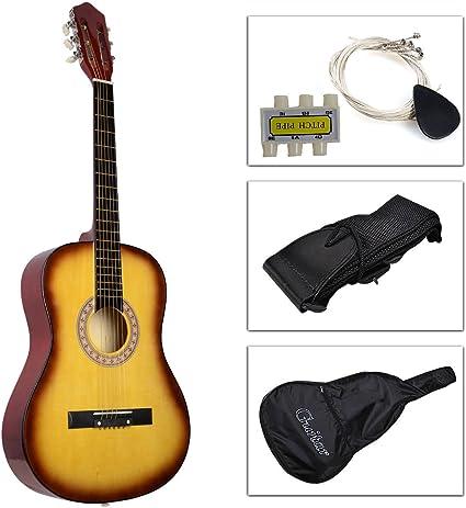 Ámbar Amarillo púa de guitarra acústica con correa, afinador y ...