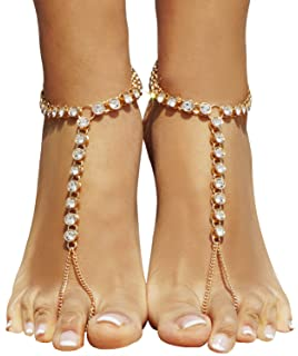 Amazoncom Wedding Foot Jewelry Barefoot Sandals Crystal Flowers