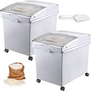 VEVOR 10.5 Gallons Ingredient Bin, Ingredient Storage Bin 2 Pcs/Set, PP Material Flour Bins On Wheels, White Shelf Ingredient Bin with Scoop and Sliding Lid, Commercial Storage Bins