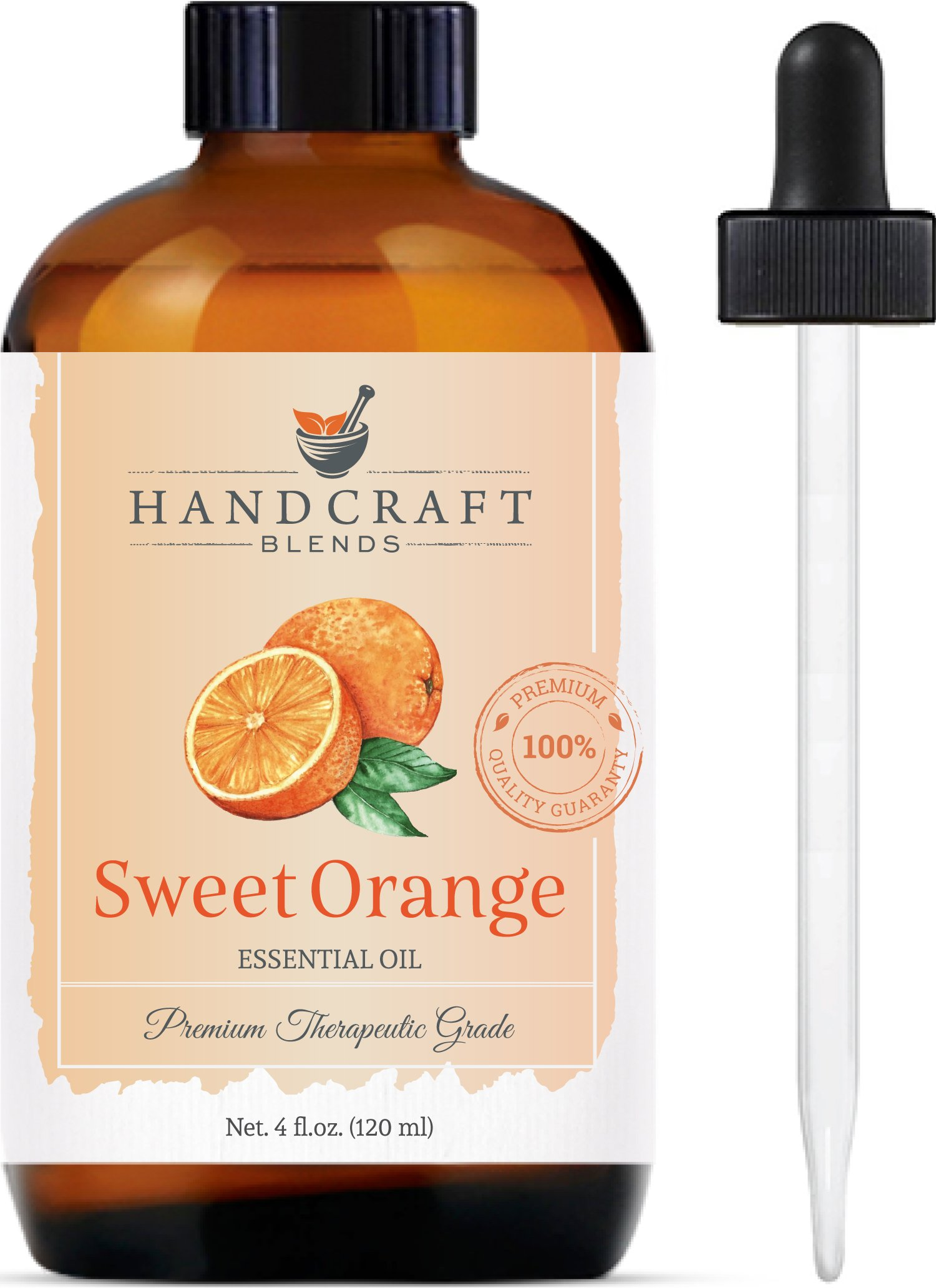 Handcraft Sweet Orange Essential Oil - 100 Percent Pure and Natural - Premium Therapeutic Grade with Premium Glass Dropper - Huge 4 oz by Handcraft Blends